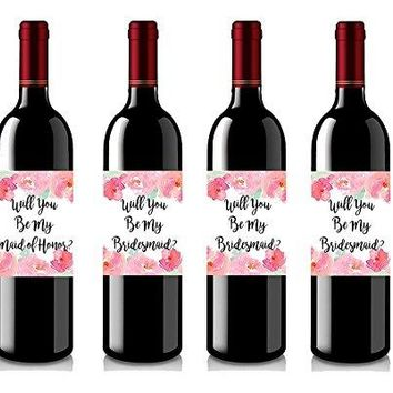 Set of 4 Wine Bottle Labels  Will You Be My Bridesmaid  Will You Be My Maid of Honor  Wine Labels Bridesmaid Gifts  Maid of Honor Gift