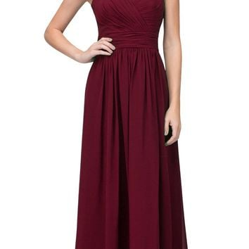 Starbox USA L6427 Pleated Sweetheart Neck Long Bridesmaids Dress Burgundy