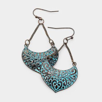 "2.25"" patina earrings boho"