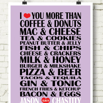 Valentine's day gift, Food matches,Couples Custom design, l love you more than...Art Print, Couples names,Wedding engagement gift,Room Décor