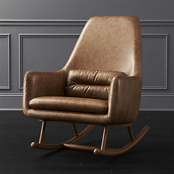 saic quantam cognac leather rocking chair