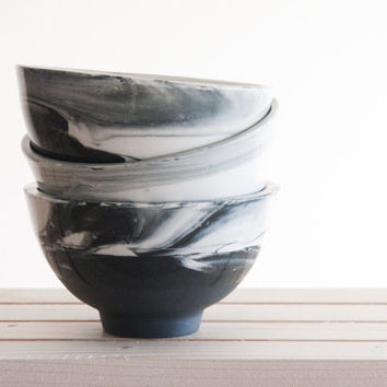 Marble black and white.Hand made ceramic bowl in blue and white with glossy glaze. modern and urban look