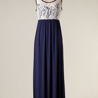 I'm Yours Maxi Dress - Ivory/Navy - Hazel & Olive