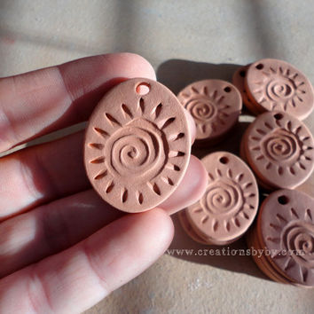 Aromatherapy Essential Scented Oil Diffuser Pendants, Tribal Style Swirl Terracotta Bisque Ceramics Oval Unglazed Flower, / Crafting