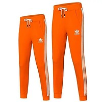 Adidas Popular Unisex Print Drawstring Sport Stretch Pants Trousers Sweatpants Orange