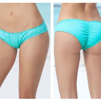 Mapale 6850 Ruffle Ruched Hipster Swimsuit Bottom Color Aqua