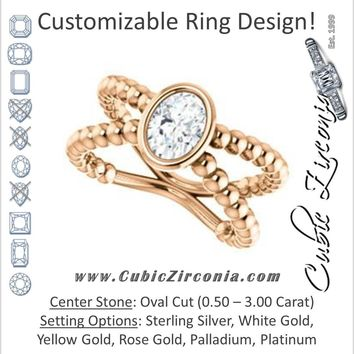 Cubic Zirconia Engagement Ring- The Maria Leeslii  (Customizable Bezel-set Oval Cut Solitaire with Wide Beaded-Metal Split-Band)
