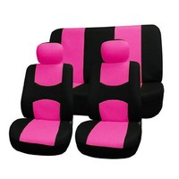 FH-FB050112 Full Set Flat Cloth Car Seat Covers Pink / Black Color- Fit Most Car, Truck, Suv, or Van