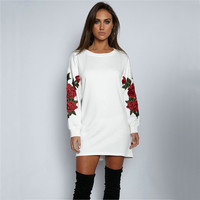 Round-neck Long Sleeve Floral Hoodies [11735842511]