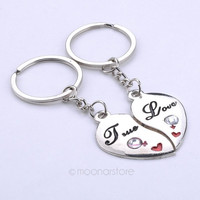 Sweet Love Heart Solid Key Ring Keyfob,Couples Romantic Keychain Lover Gift = 1929723012