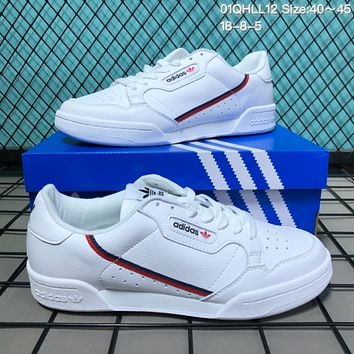 KUYOU A075 Adidas Continentel 80 Mens and Womens Retro Skate Shoes White Red