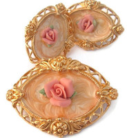 Rose flowers vintage brooch and clip earrings set
