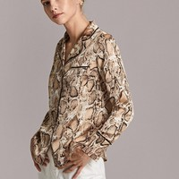Snakeskin Print Flap Pocket Front Contrast Tipping Top