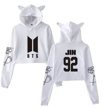 KPOP BTS Bangtan Boys Army Wow  Cool Love Yourself Tear Fake Love  Long Sleeve Cropped Hoodies Sweatshirt Cat Women Hooded Pullover Crop Top Clothes AT_89_10