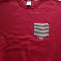 SMALL Ready To Ship Heathered Red Sweatshirt  with Seersucker Striped Pocket