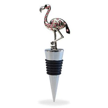 Puzzled Flamingo Wine Bottle Stopper Unique Well Crafted 5 Inch Metal Plug With Pink Crystals  Reusable Champagne Preserver Perfect Wine Lover Decor Gift  Animals Collection  Cheers 6058