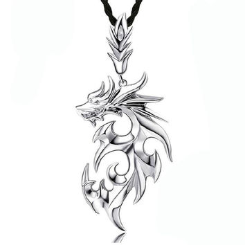 53*23mm Cool Fire Dragon Men Pendants,Floating Locket Charms Titanium Men Pendant Jewelry(With Leather Strap)