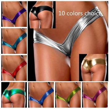 DCCKWQA New 10-color elastic stretch sexy slipje latex underwear women thongs and g string panties leather micro-mini tanga shorts