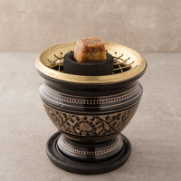 Carved Brass Charcoal Resin Burner