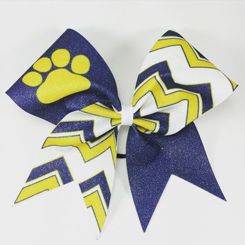 Chevron glitter bow with paw or other mascots or your team name.