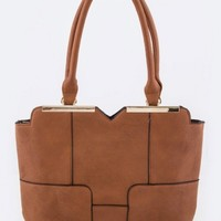 Brown-Faux-Leather-Tote