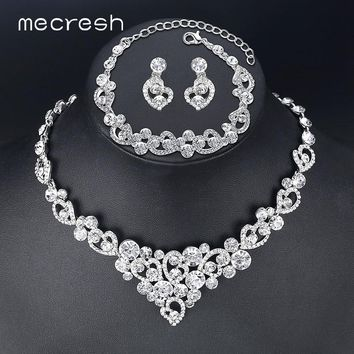 Mecresh Heart Crystal Bridal Jewelry Sets Wedding Jewelry Necklace Sets African Beads Jewelry Sets Christmas Gift TL310+MSL285