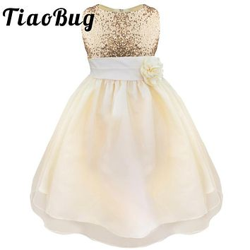 TiaoBug 2017 Lovely Ball First Communion Dresses Girls Kids Evening Gowns Tea-Length Sequined Scoop Sleeveless Pageant Dress