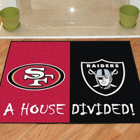 San Francisco 49ers - Oakland Raiders NFL House Divided Mat