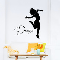 Dance Wall Decal Vinyl Sticker Decals Ballet Dancing Ballerina Acrobatics Gymnastics Wall Decal Girls Wall Decor Dance Studio Decor Art T184