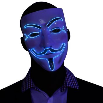 Blue V for Vendetta EL Wire LED Mask