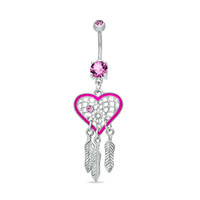 014 Gauge Heart-Shaped Pink Dream Catcher Dangle Belly Button Ring in Stainless Steel - - View All - PAGODA.COM