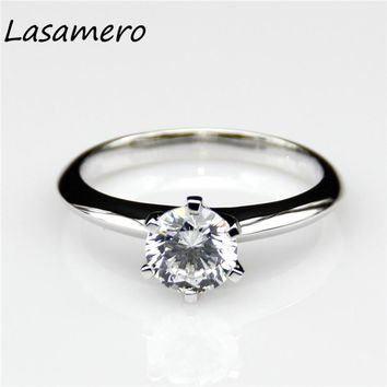 Sterling Silver Gold Plated 1 Carat Lab Colorless Diamond Solitaire