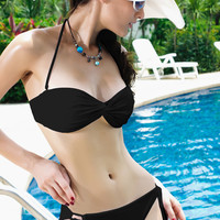 Black Ruched Halterneck Bikini Set with Detachable Strap