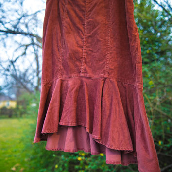 Vintage Inspired Mauve Corduroy Skirt With Ruffles (Pilcro and the Letterpress)