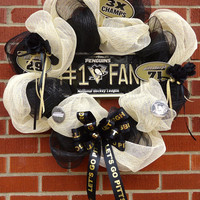 """Pittsburgh Penguins Wreath - """" Let's Go PENS"""", Silk floral, Deco Mesh, Black and Gold, Gift, Home Decor, Housewarming"""