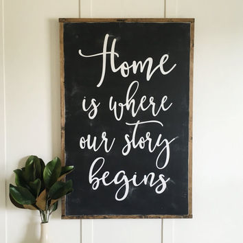 Home is Where Our Story Begins Oversized Sign - White or Black