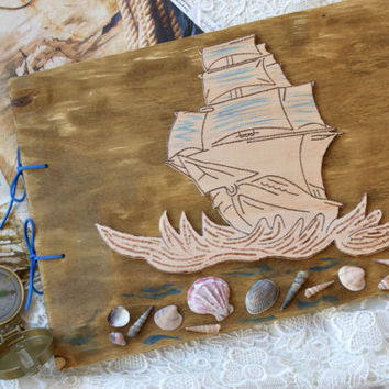 Baby boy Guest Book Kid photo album Baby memory book first birthday gift Engagement Gift Nautical Pirates ship Baby Sign In Baby shower gift