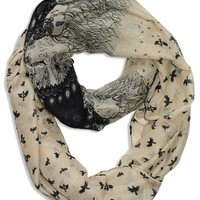 Beautiful Vintage Two Colored Bird Print Infinity Loop Scarf Ivory Black