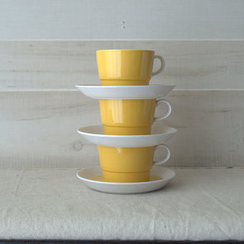 Vintage Yellow Modern Tea Cup and Saucer / Mod Kitchen Cup and Saucer