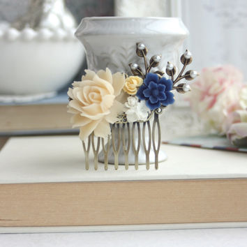 Blue Flower, Ivory Rose, White, Pearl, Brass Leaf Collage Hair Comb. Something Blue, Maid Of Honor, Bridesmaid Comb, Ivory and Blue Wedding.