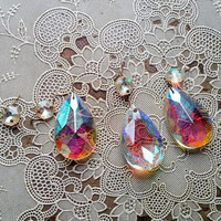 Vintage Large Opalescent Teardrop Chandelier Crystals Set of Two Plus