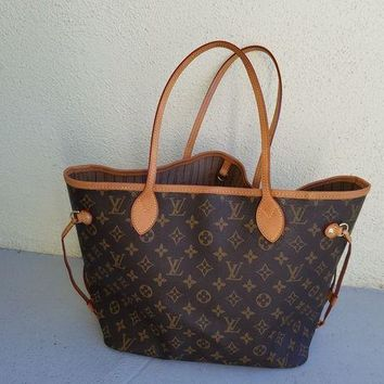 ONETOW Louis Vuitton Monogram Canvas Neverfull MM Brown Tote Bag