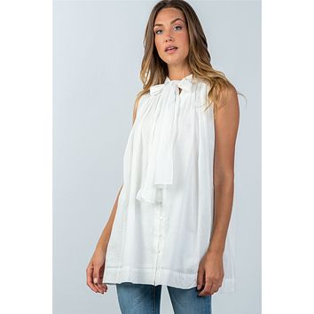 Ladies fashion oversized button down tie-neck babdydoll top