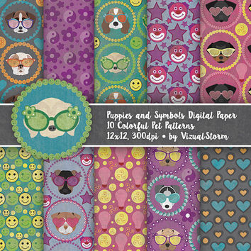 Cute Puppy Digital Paper Summer Pet Background Patterns Printable Puppy Dogs Kids Birthday Party Puppies Fun Puppy Scrapbooking Paper Pack