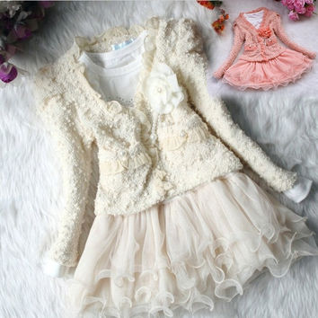 Hot Xmas Party Tutu Dress Toddlers Kids Girls Lace Skirt Dress+Coat 2Pcs Set WT8 W_C = 1652940164
