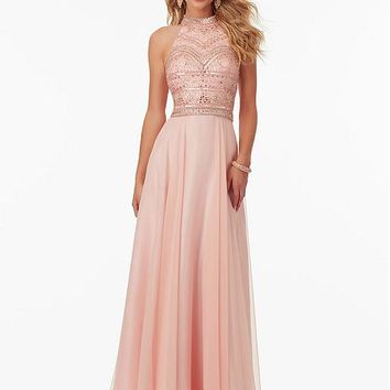 [138.99] Romantic Silk-like Chiffon High Collar Neckline A-line Prom Dresses With Beadings - dressilyme.com