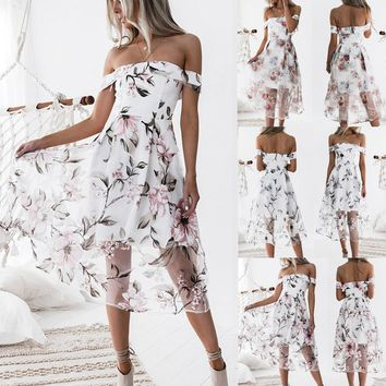 Womens Summer Off Shoulder Floral Printed Long Maxi Dress