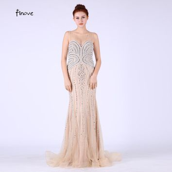 Real Images Long Elegant Mermaid Prom Dresses 2017 Evening Dress With Beading Open Back Illusion robe de mariage Party Gowm