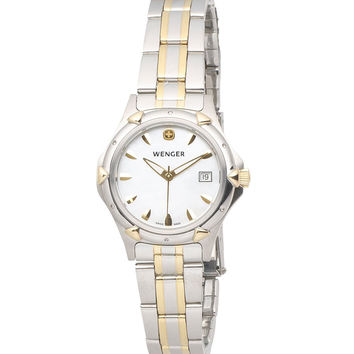 Wenger 70236 Women's White Dial Two Tone Stainless Steel Watch