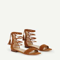 Astrid Suede Ankle Wrap Sandals | Ann Taylor